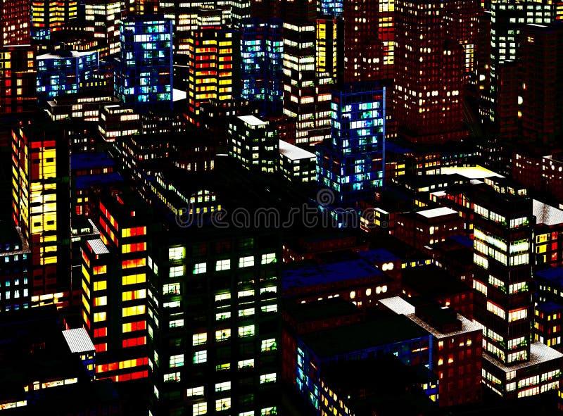 Bedrijfs District bij Nacht stock illustratie