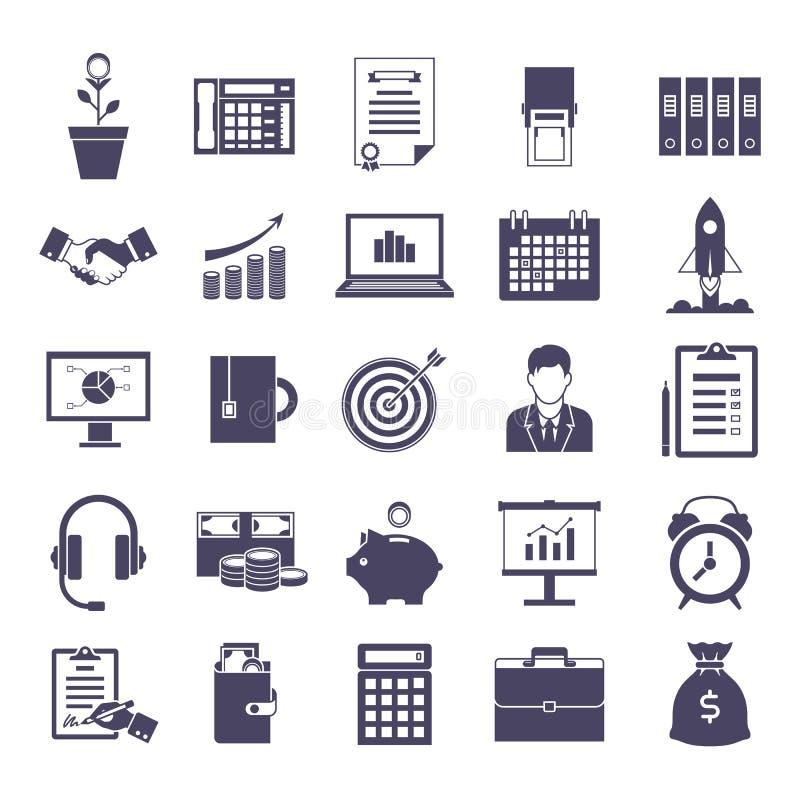 Bedrijfs eenvoudige geplaatste pictogrammen stock illustratie
