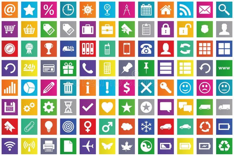 Bedrijfs, elektronische handel, Web en het winkelen pictogrammen geplaatst I royalty-vrije illustratie