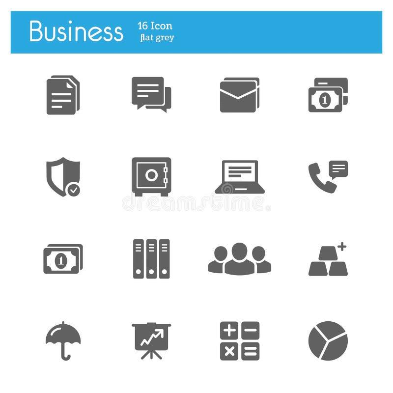 Bedrijfs en Bankwezen vlakke grijze pictogrammen royalty-vrije illustratie