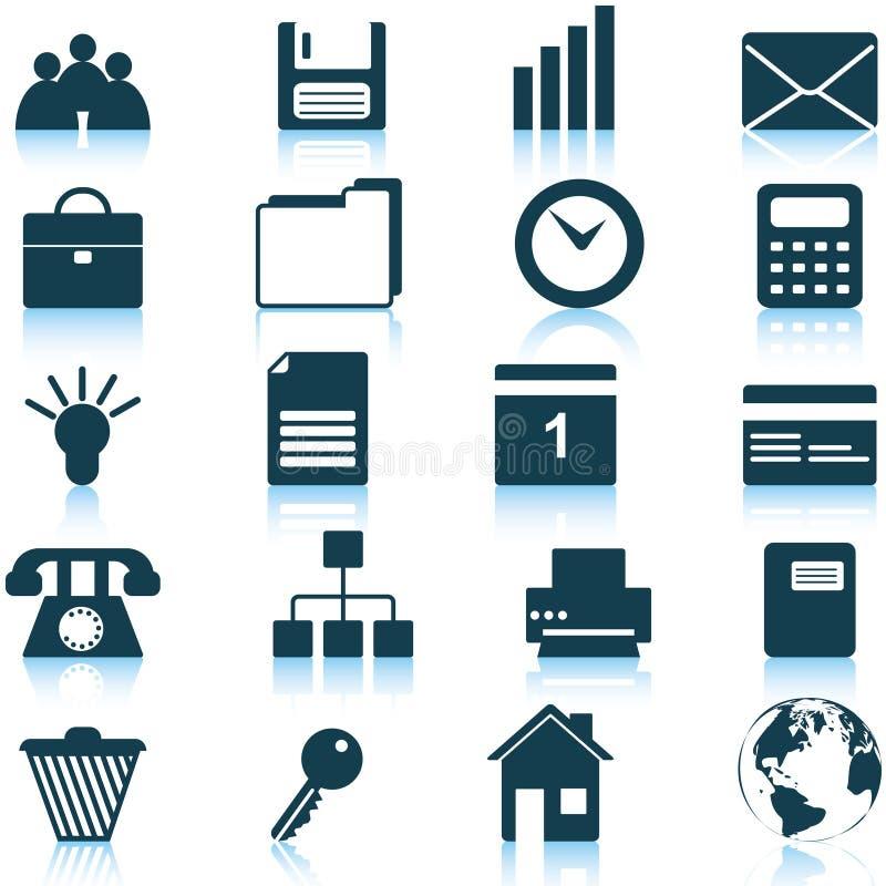 Bedrijfs en bureau geplaatste pictogrammen vector illustratie