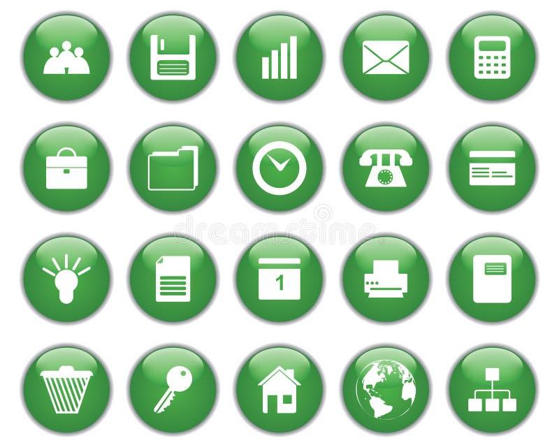 Bedrijfs en bureau geplaatste pictogrammen stock illustratie