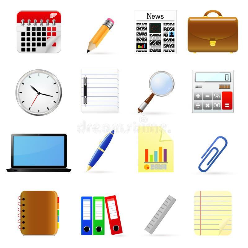 Bedrijfs en bureau geplaatste pictogrammen. royalty-vrije illustratie