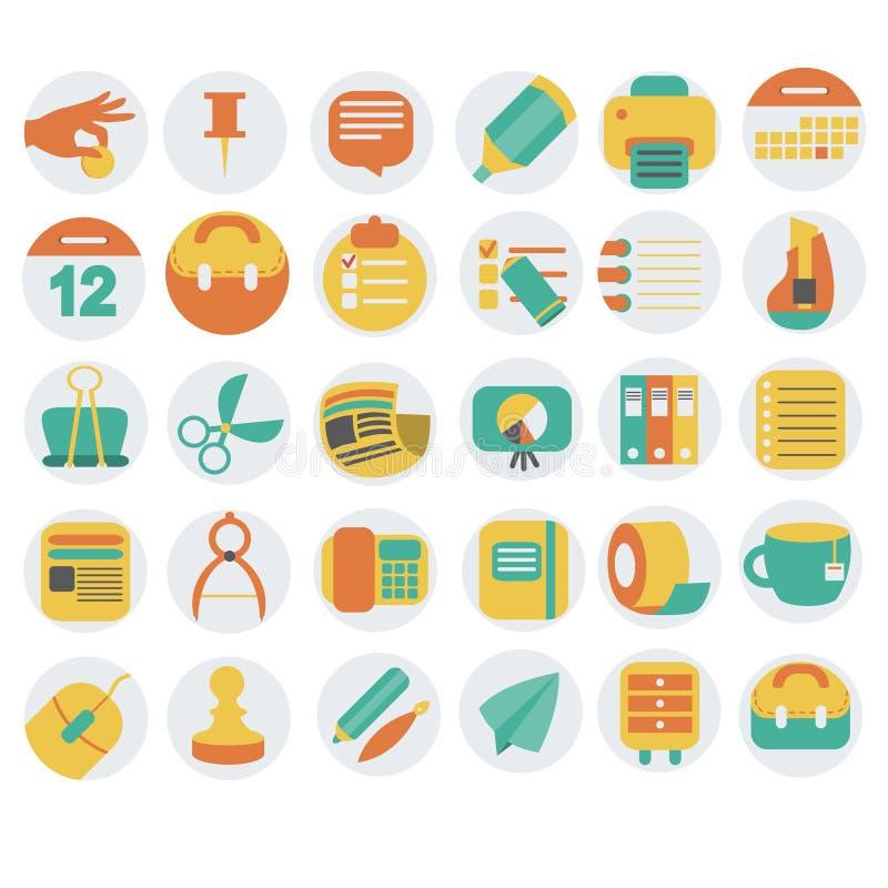 Bedrijfs en bureau vlakke geplaatste pictogrammen vector illustratie