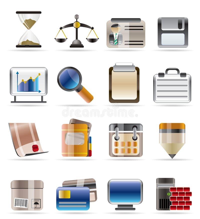 Bedrijfs en bureaupictogrammen vector illustratie