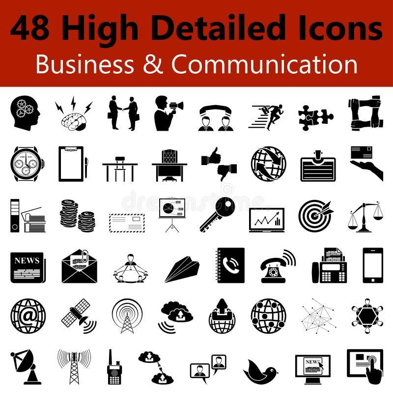 Bedrijfs en Communicatie Vlotte Pictogrammen stock illustratie