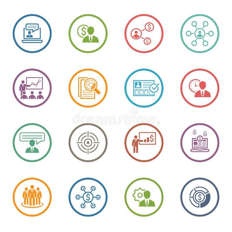 Bedrijfs en Financiën Geplaatste Pictogrammen Vlak Ontwerp vector illustratie