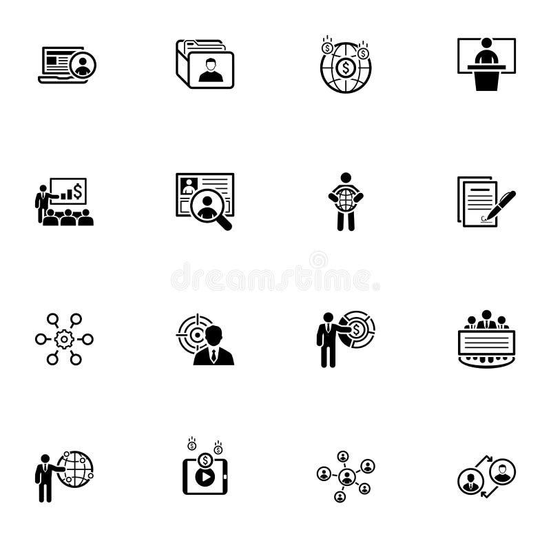 Bedrijfs en Financiën Geplaatste Pictogrammen Vlak Ontwerp stock illustratie