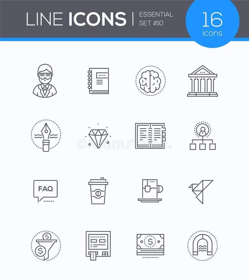 Bedrijfs en financiënconcepten - moderne geplaatste de stijlpictogrammen van het lijnontwerp stock illustratie