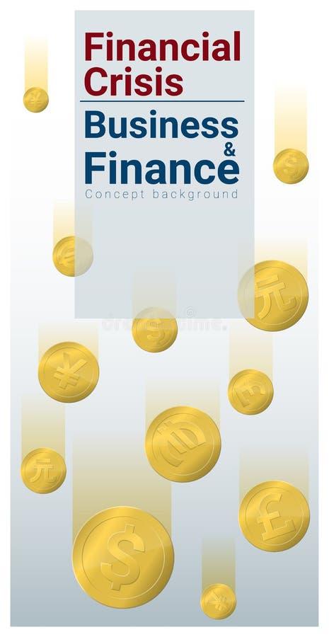 Bedrijfs en Financiënconceptenachtergrond met financiële crisis royalty-vrije illustratie