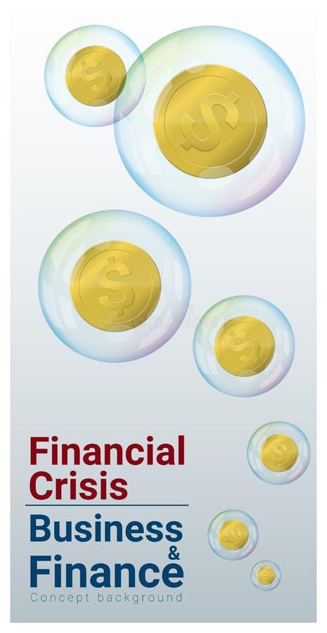 Bedrijfs en Financiënconceptenachtergrond met financiële crisis stock illustratie