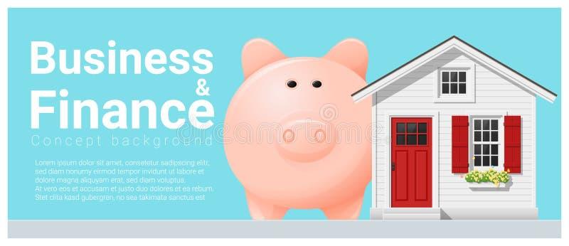 Bedrijfs en Financiënconceptenachtergrond met plattelandshuisje en spaarvarken vector illustratie