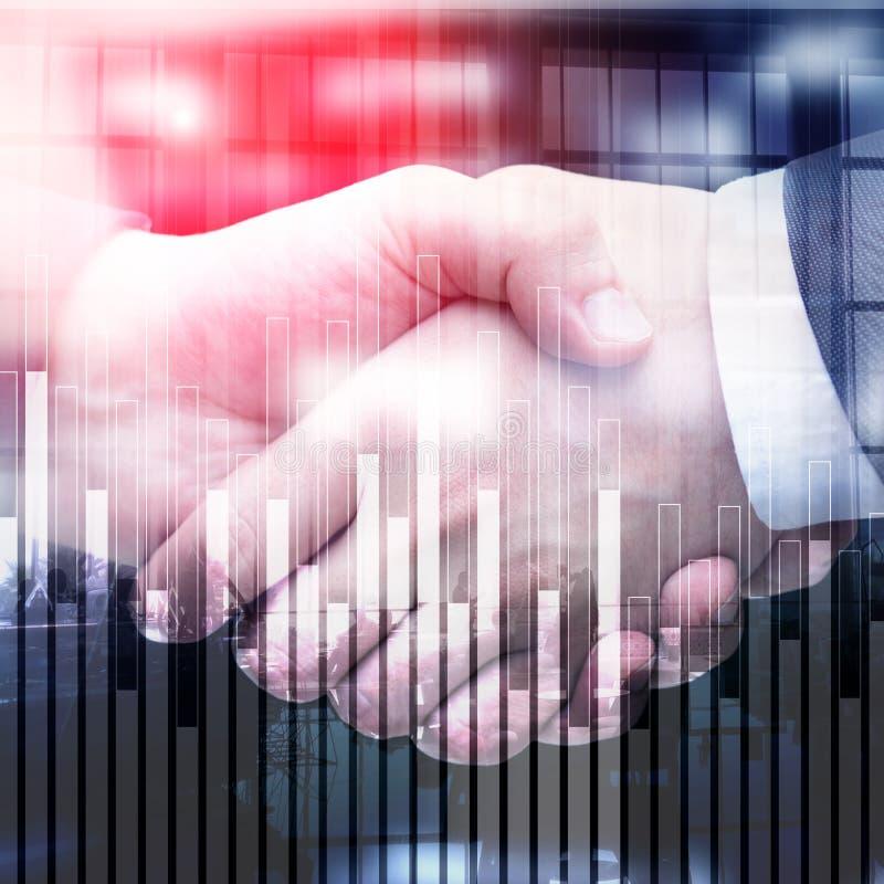 Bedrijfs en financiëngrafiek op vage achtergrond Handel, investering en economieconcept vector illustratie