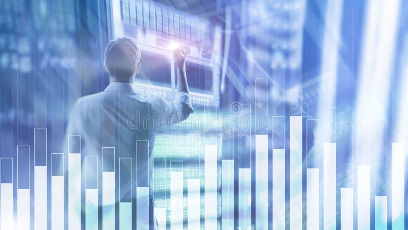 Bedrijfs en financiëngrafiek op vage achtergrond Handel, investering en economieconcept royalty-vrije stock foto's