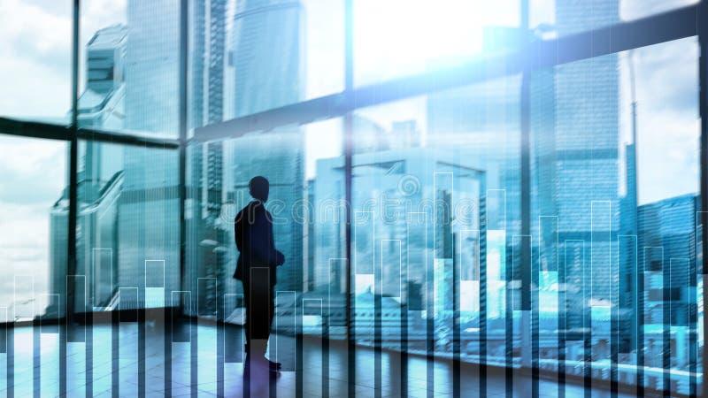 Bedrijfs en financiëngrafiek op vage achtergrond Handel, investering en economieconcept royalty-vrije stock fotografie