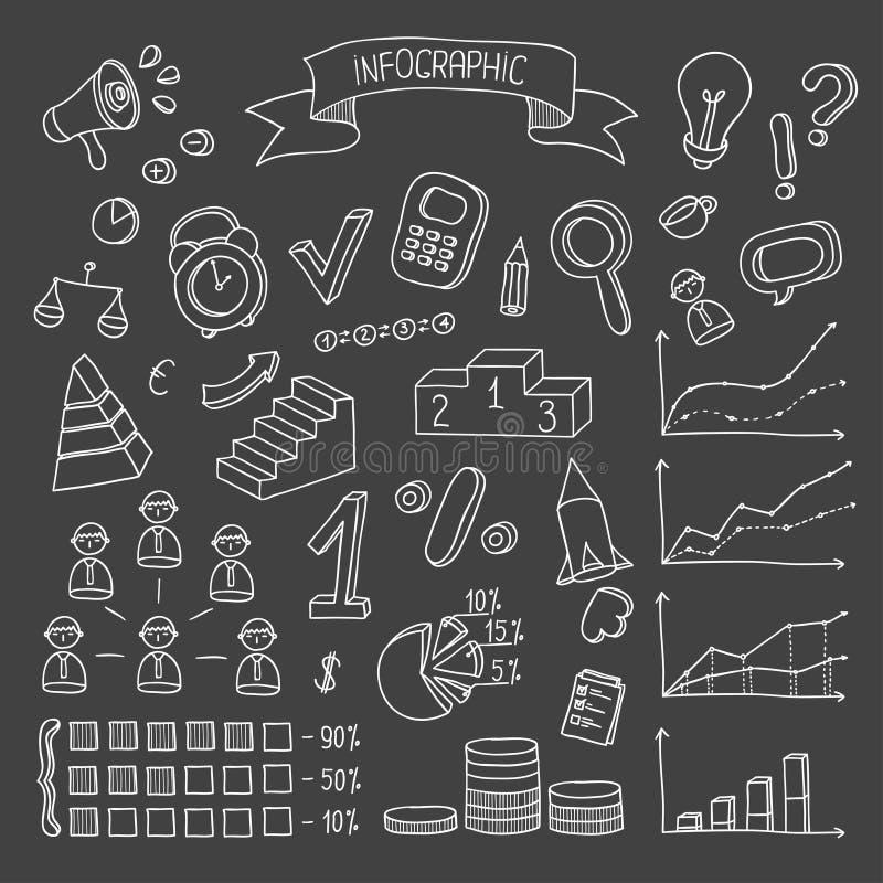 Bedrijfs en financiënhand getrokken infographic ontwerp vector illustratie