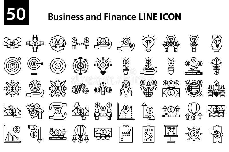 Bedrijfs en Financiënlijnpictogram royalty-vrije illustratie