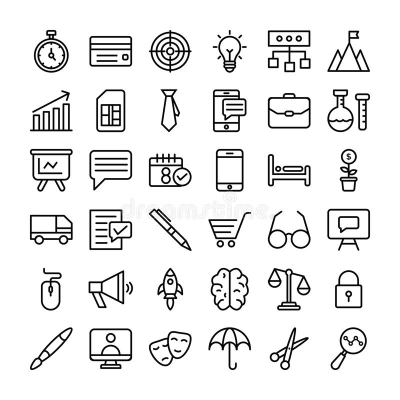 Bedrijfs en financi?n geplaatste pictogrammen stock illustratie