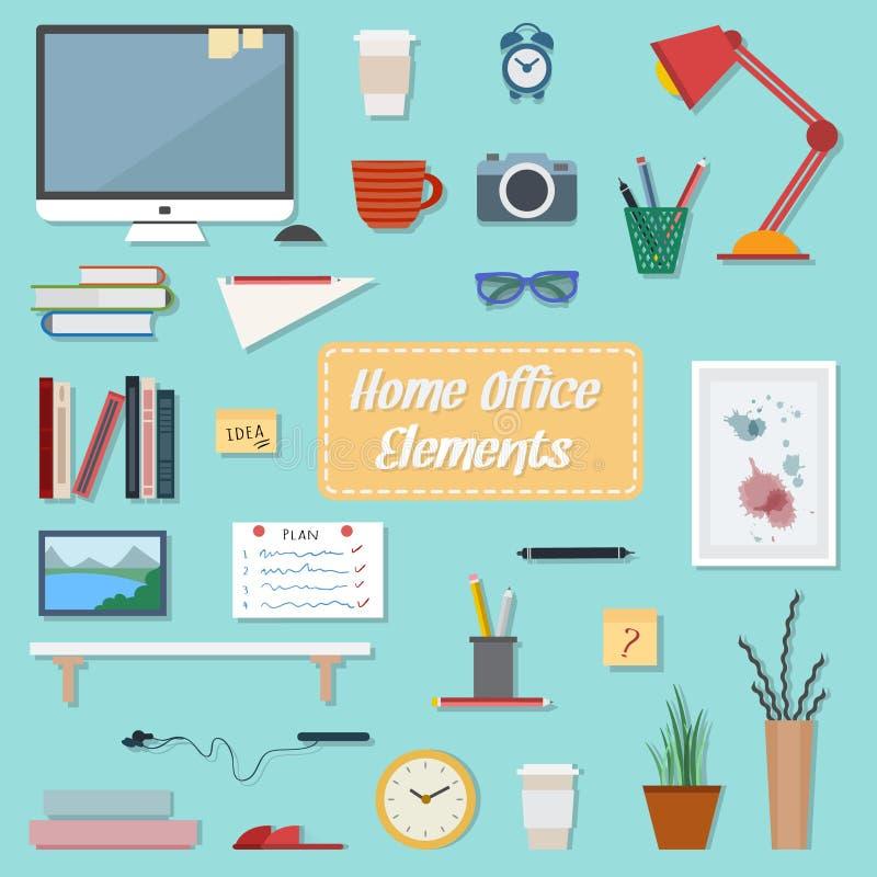 Bedrijfs en huiswerkplaats royalty-vrije illustratie