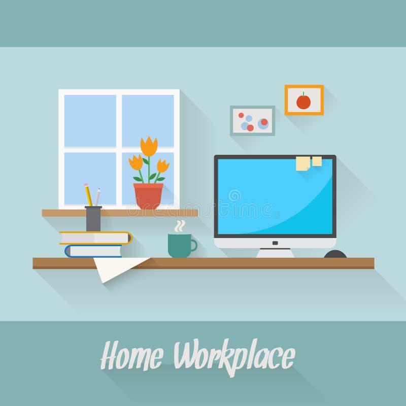 Bedrijfs en huiswerkplaats vector illustratie