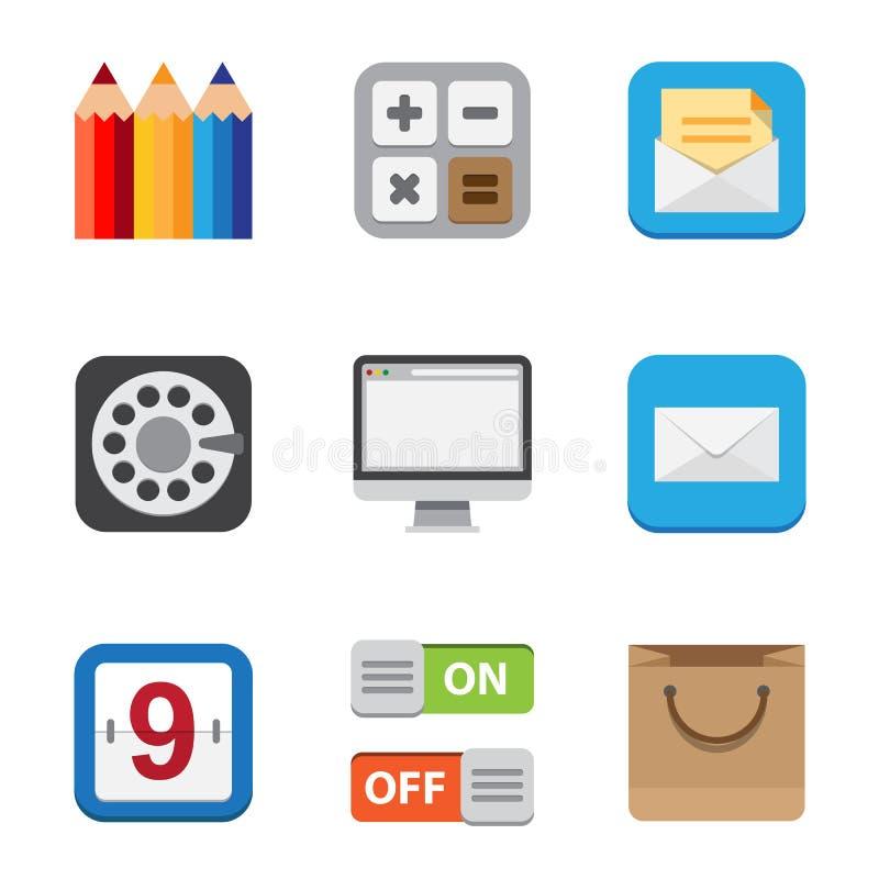Bedrijfs en interface vlakke geplaatste pictogrammen. royalty-vrije illustratie