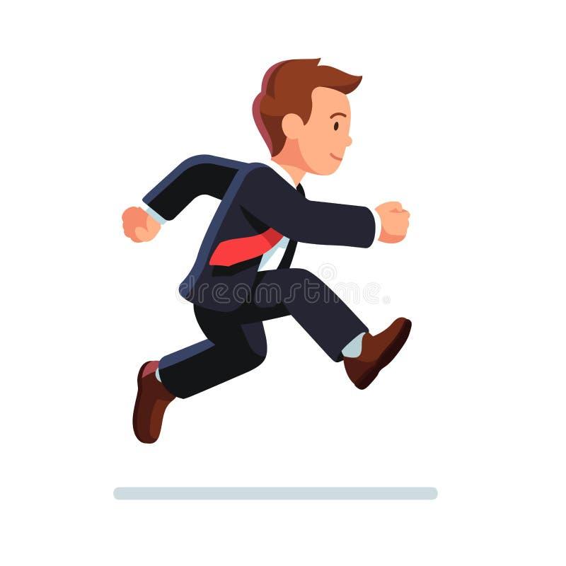 Bedrijfs en mens die lopen springen royalty-vrije illustratie