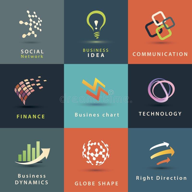 Bedrijfs en technologie geplaatste pictogrammen vector illustratie