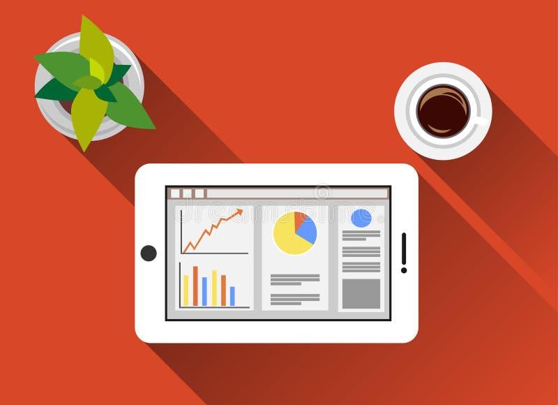 Bedrijfs en van de statistiekenillustratie vlakke ontwerpen met lange schaduw Controle bedrijfs en van het statistiekenconcept il stock illustratie