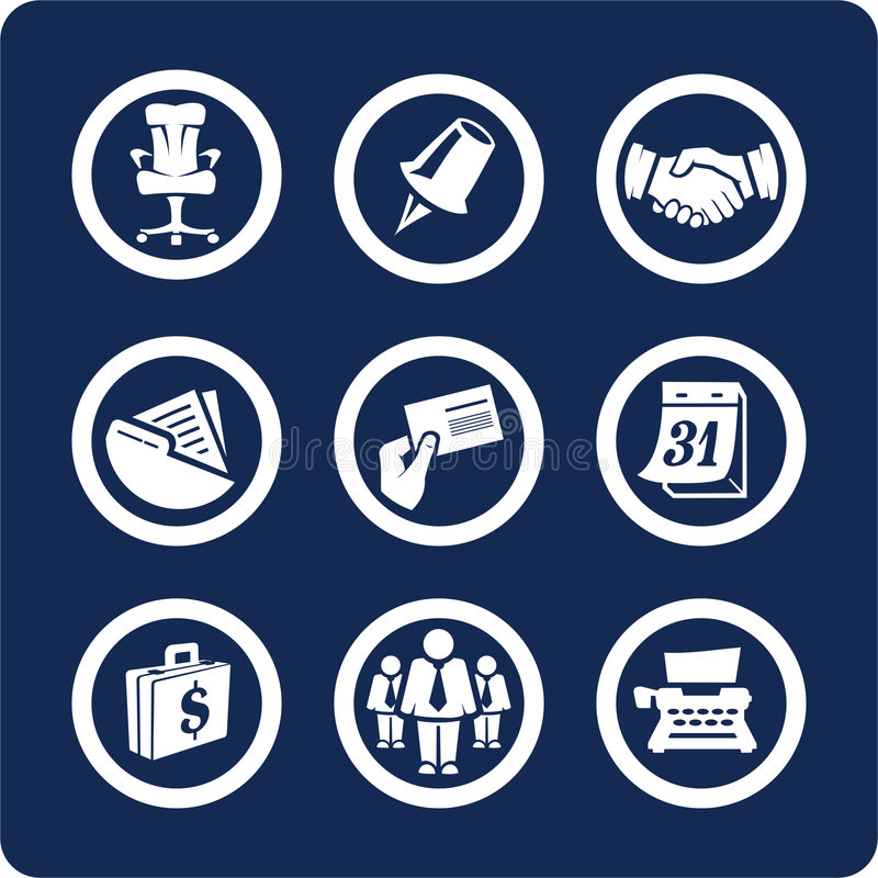 Bedrijfs en van het Bureau pictogrammen (plaats 5, deel 2) stock illustratie