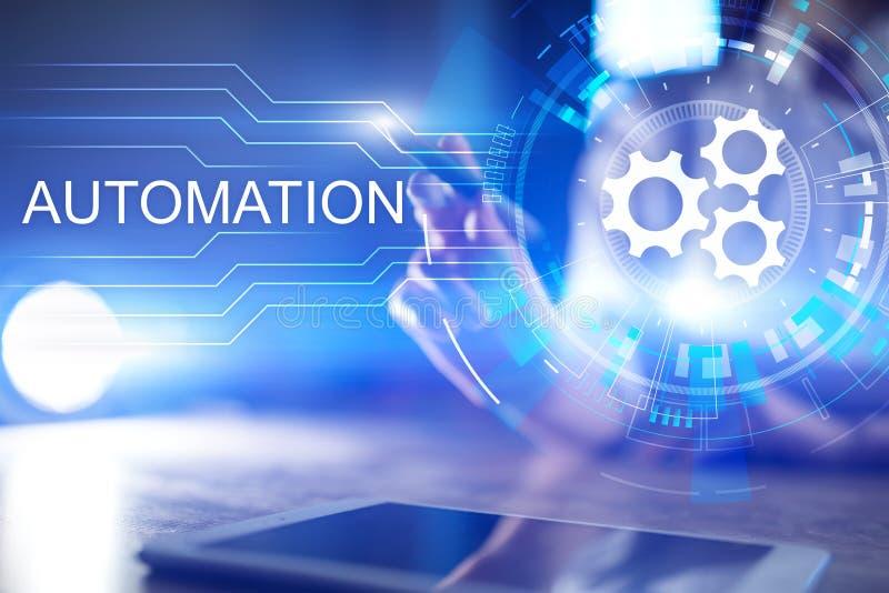 Bedrijfs en van het productieproces Automatisering, de slimme industrie, innovatie en modern technologieconcept vector illustratie