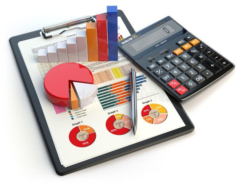 Bedrijfs financiële grafiekgrafiek op klembord en calculatorisola royalty-vrije illustratie