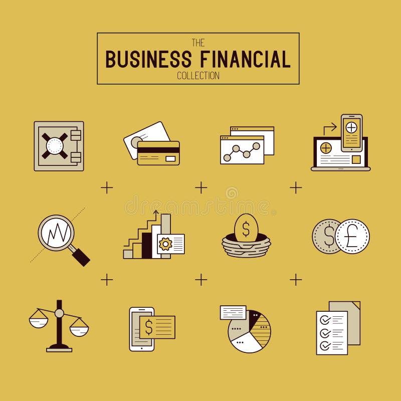 Bedrijfs Financiële Pictogramreeks vector illustratie