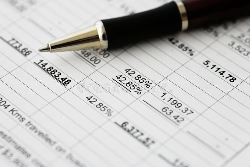 Bedrijfs financiële resultaten - het Berekenen begroting stock afbeeldingen