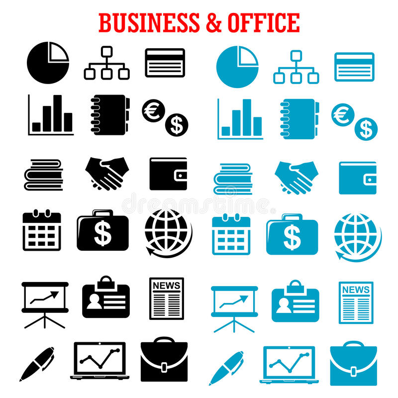 Bedrijfs, financiën en bureau vlakke pictogrammen stock illustratie