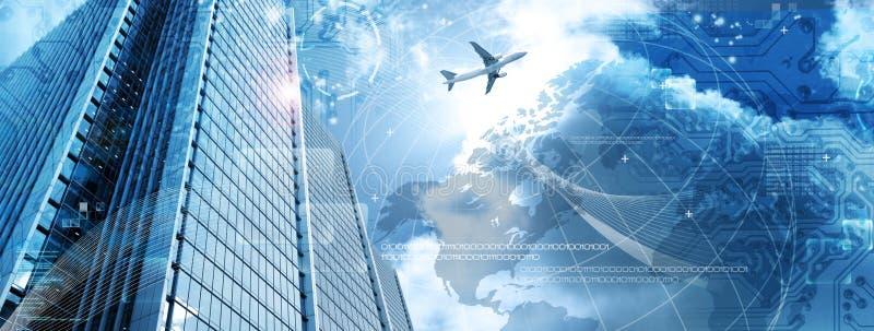 Bedrijfs futuristische wolkenkrabberbanner stock afbeeldingen
