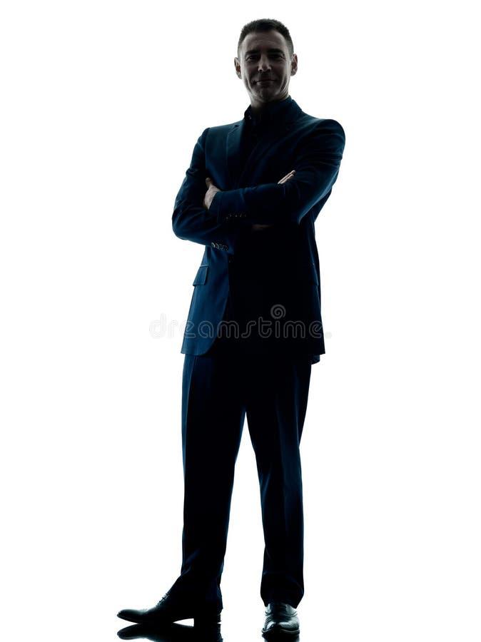 Bedrijfs geïsoleerd mensen bevindend silhouet royalty-vrije stock foto