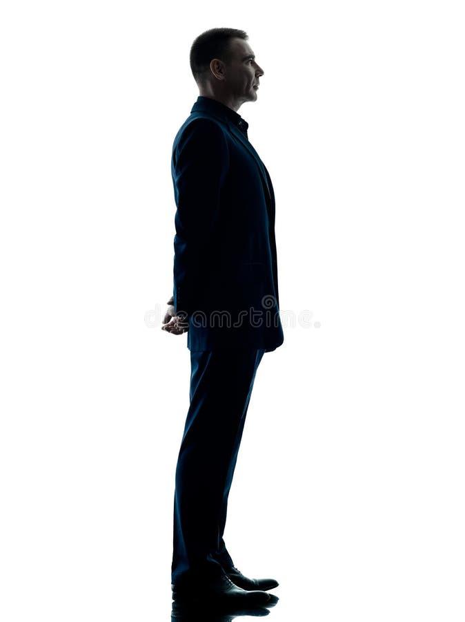 Bedrijfs geïsoleerd mensen bevindend silhouet royalty-vrije stock afbeeldingen