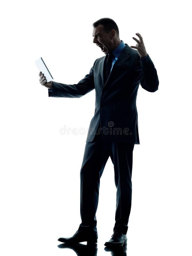 Bedrijfs geïsoleerde mensen boze digitale tablet stock foto