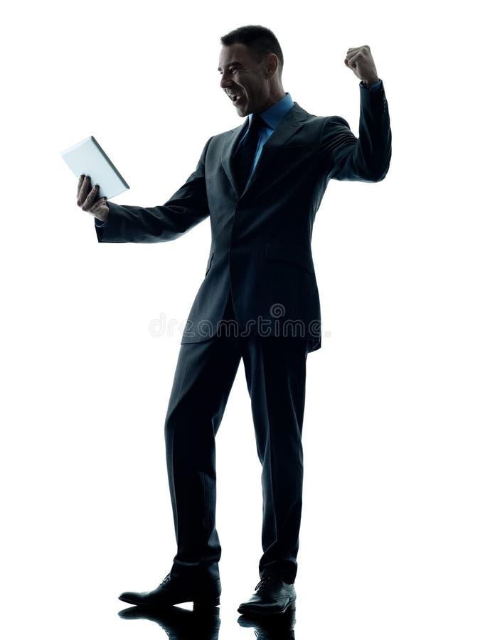 Bedrijfs geïsoleerde mensen digitale tablet stock foto's