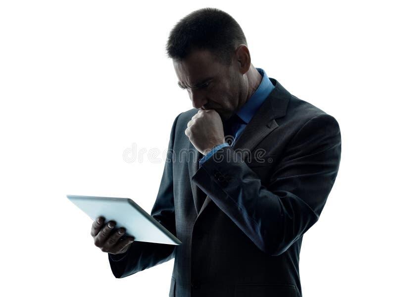 Bedrijfs geïsoleerde mensen digitale tablet royalty-vrije stock foto