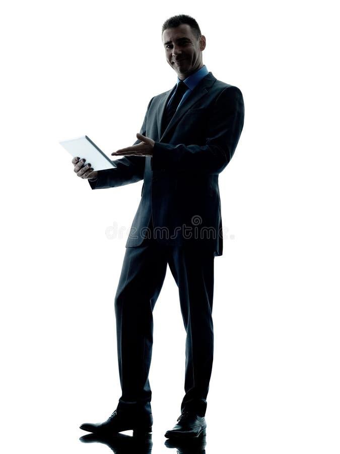 Bedrijfs geïsoleerde mensen digitale tablet stock foto