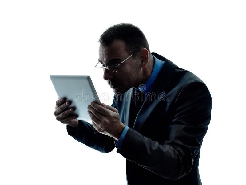 Bedrijfs geïsoleerde mensen digitale tablet stock afbeeldingen