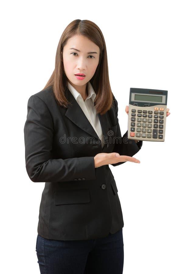 Bedrijfs geïsoleerde vrouw met calculator, royalty-vrije stock foto's
