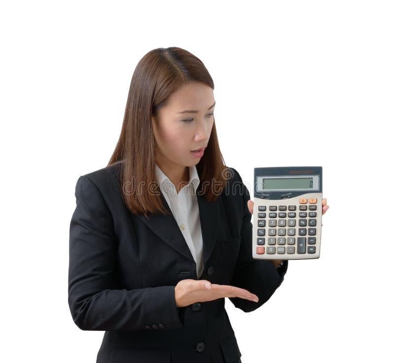 Bedrijfs geïsoleerde vrouw met calculator, stock foto's