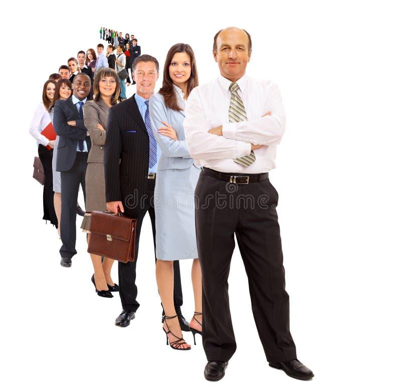 Bedrijfs geïsoleerdet mens en zijn team stock afbeelding