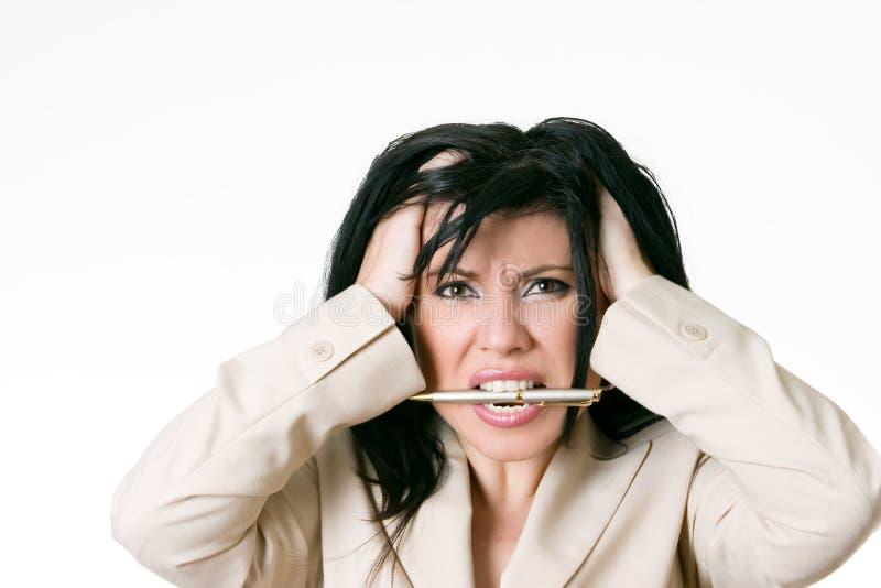 Bedrijfs gefrustreerde vrouw royalty-vrije stock fotografie