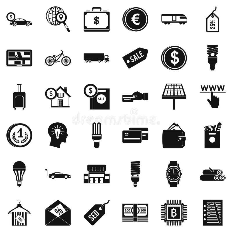 Bedrijfs geplaatste economiepictogrammen, eenvoudige stijl vector illustratie
