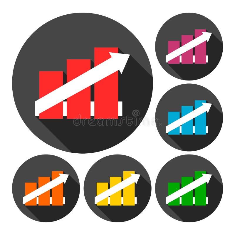Bedrijfs geplaatste grafiekpictogrammen vector illustratie