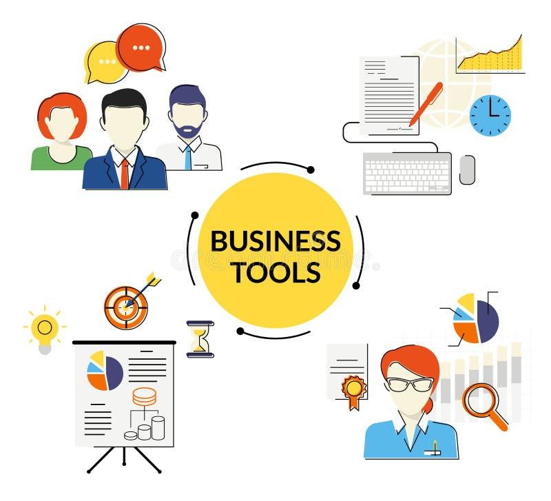 Bedrijfs geplaatste hulpmiddelenillustraties stock illustratie