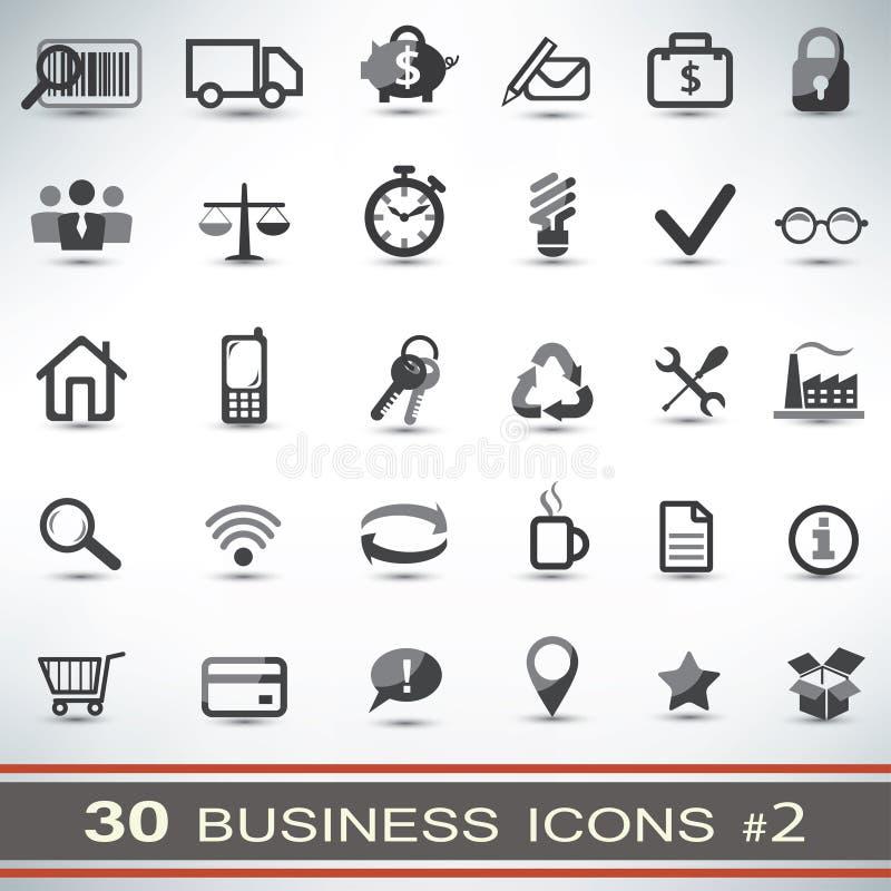 30 bedrijfs geplaatste pictogrammen royalty-vrije illustratie